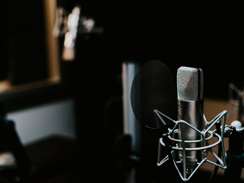 Darkened image with podcast microphone in stand with guard.