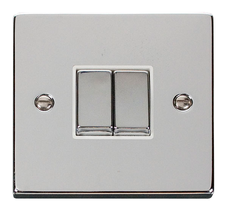 Click Deco Polished Chrome White Insert 10A Plate Switch 2 Gang 2 Way Ingot
