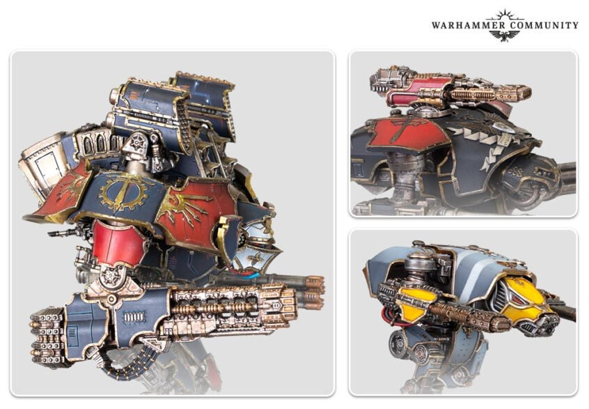Side views of Adeptus Titanicus Models with New Volkite weapons
