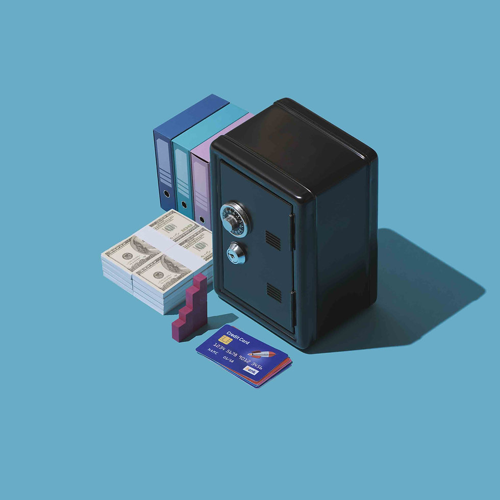 Banking and financial management: safe, cash currency and credit card, isometric objects
