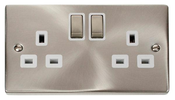 Click Deco Satin Chrome White Insert 2 Gang 13A DP Switched Socket Ingot