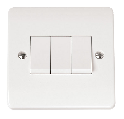 Click Mode 10A Plate Switch 3 Gang 2 Way