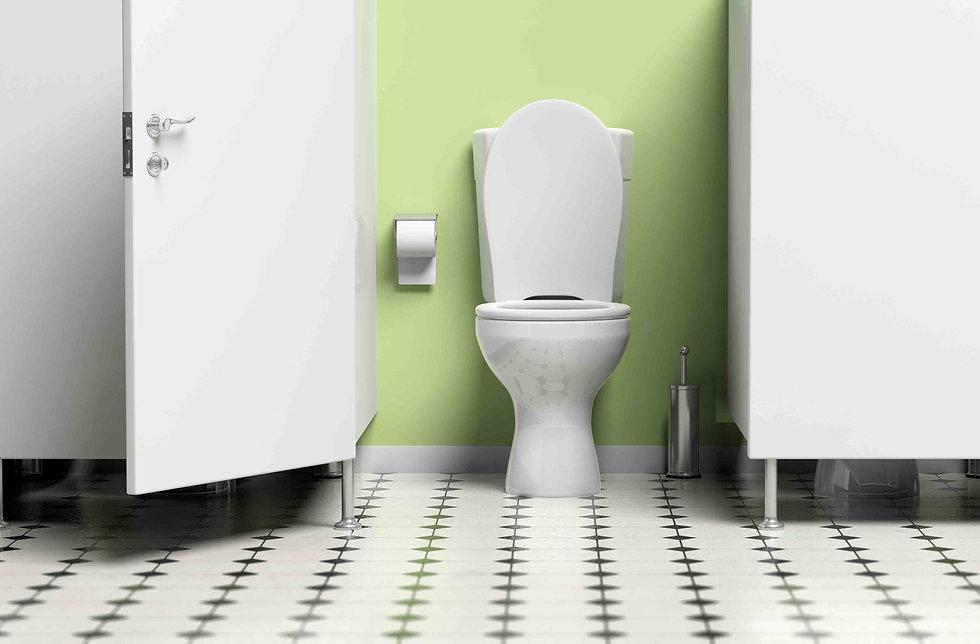 Toilet door open for toilet cubicle.