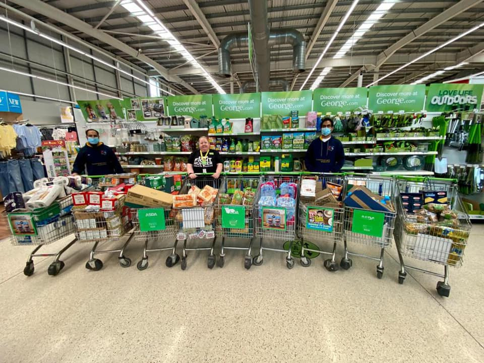 Purpose of life charity collecting food donation from Dewsbury Asda