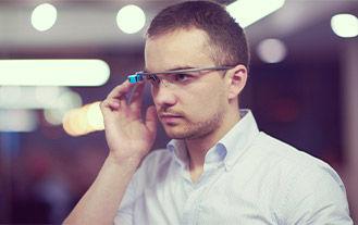 man using google glass