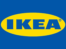 picture of Ikea's blue and yellow logo.