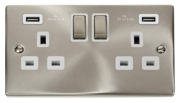Click Deco Satin Chrome White Insert 2 Gang 13A Switched Socket with 2x USB