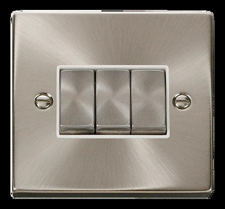 Click Deco Satin Chrome White Insert 10A Plate Switch 3 Gang 2 Way Ingot
