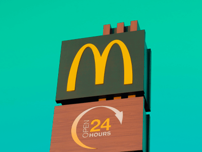 picture of a mcdonalds sigh with the 24hour symbol under it.