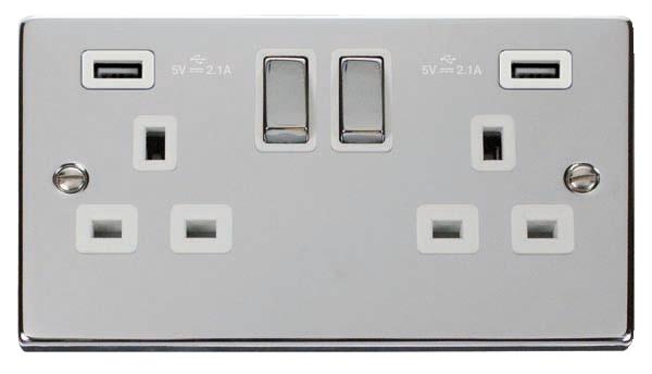 Click Deco Chrome White Insert 2 Gang 13A Switched Socket - 2x USB 4.2A Ingot