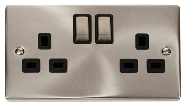 Click Deco Satin Chrome Black Insert 2 Gang 13A DP Switched Socket Ingot