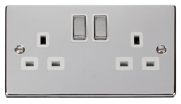 Click Deco Polished Chrome White Insert 2 Gang 13A DP Switched Socket Ingot