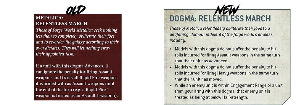 Difference between the old Metalica Dogma and new Metalica Dogma