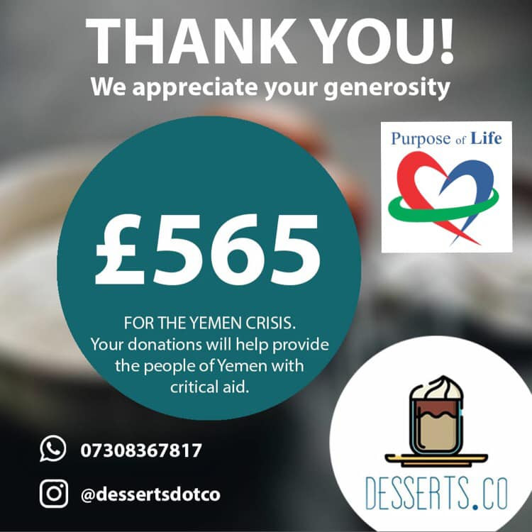 Thank you poster for the donations to the Yemen Crisis