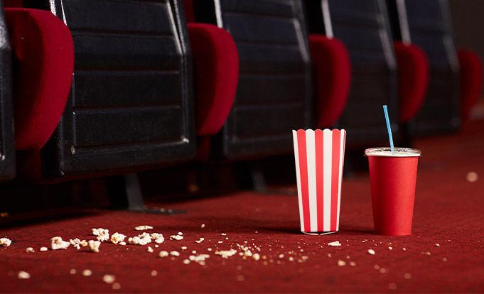 Empty dirty cinema seats