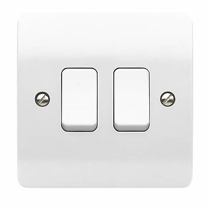 MK K4872WHI Plate Switch 10 Amp Single Pole 2 Gang 2 Way