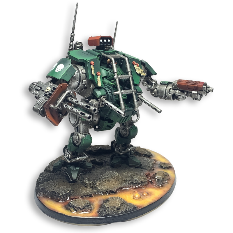 Warhammer 40k Games Workshops Invictor Tactical Warsuit painting in Dark Angels Green