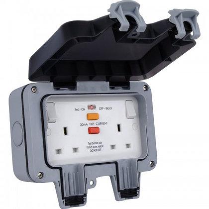 British General IP66 13A 2G SP Weatherproof Outdoor Passive RCD Socket
