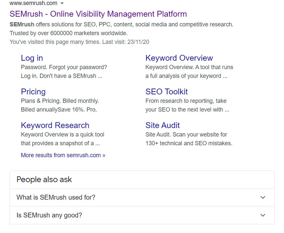 screen shot of SEMrush