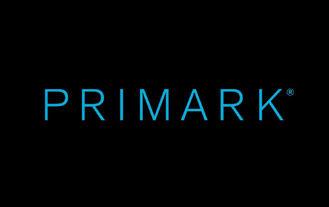 Primark logo, blue text on black background
