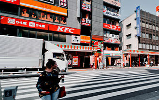 Picture of a city street in Chine containing a KFC