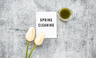 Spring cleaning envelope on a marble background