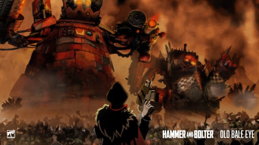 Commissar yarrick looks upon a hoard of Orks