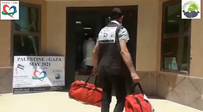 man delivering aid packages in Gaza
