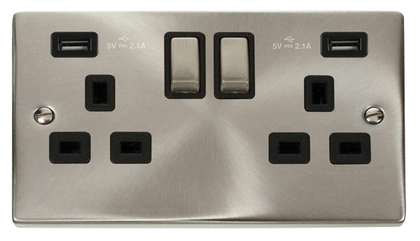 Click Deco Satin Chrome Black Insert 2 Gang 13A Switched Socket with 2x USB