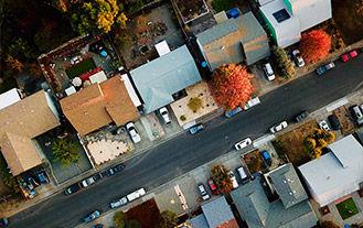 Ariel view of an American Neighborhood