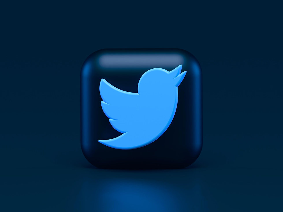 3d version of the twitter logo on a blue background