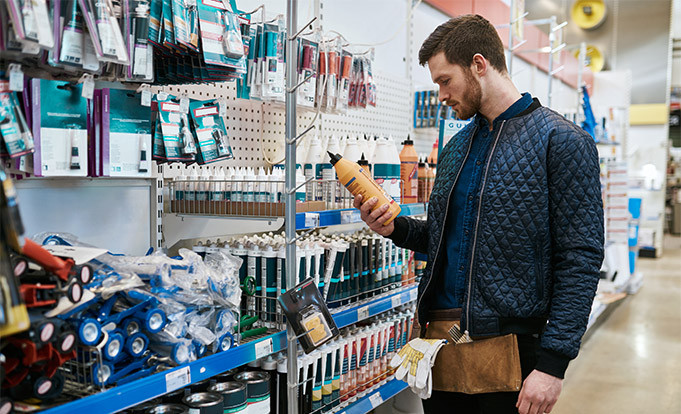 Man checking out DIY products