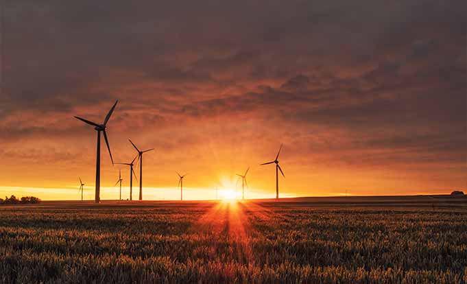 Sunset on a wind farm
