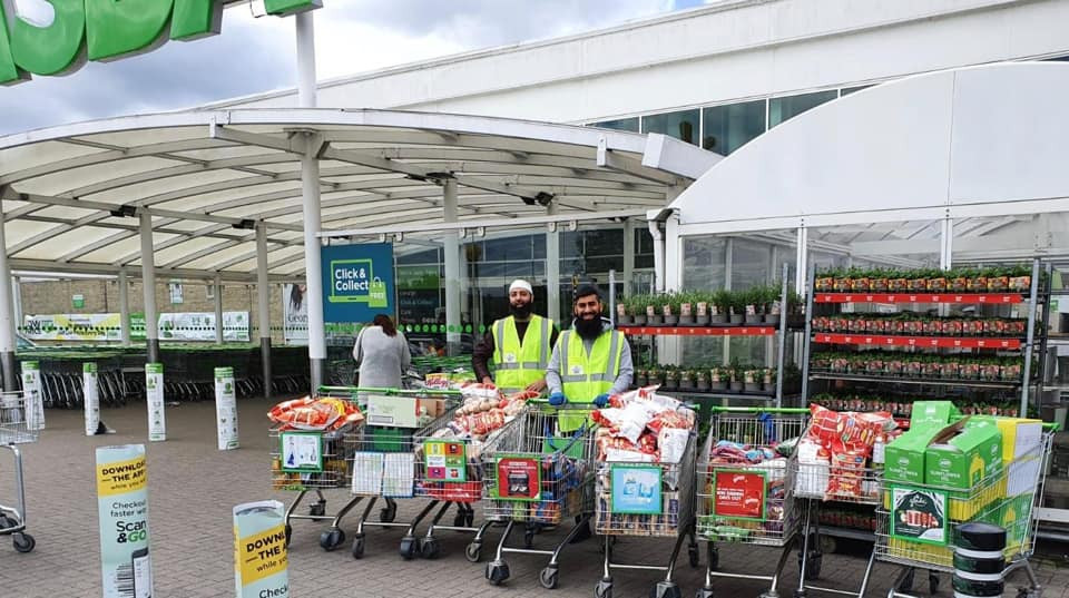 Collecting food packages for struggling families from Asda Dewsbury