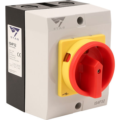 Stag 32A 4 Pole IP65 Rotary Isolator