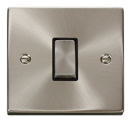 Click Deco Satin Chrome Black Insert 10A Plate Switch 1 Gang 2 Way Ingot