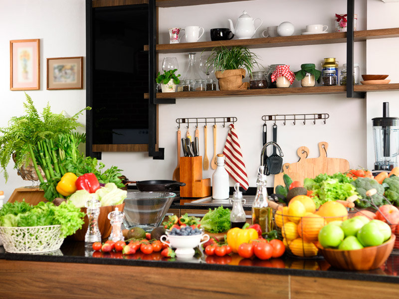 Large collection of fresh fruits and vegetables.