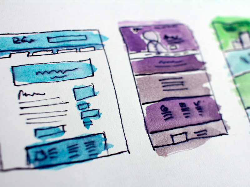 Inked images of potential web site layouts