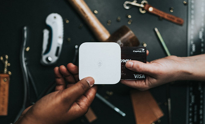 Paying for tools using a credit card.