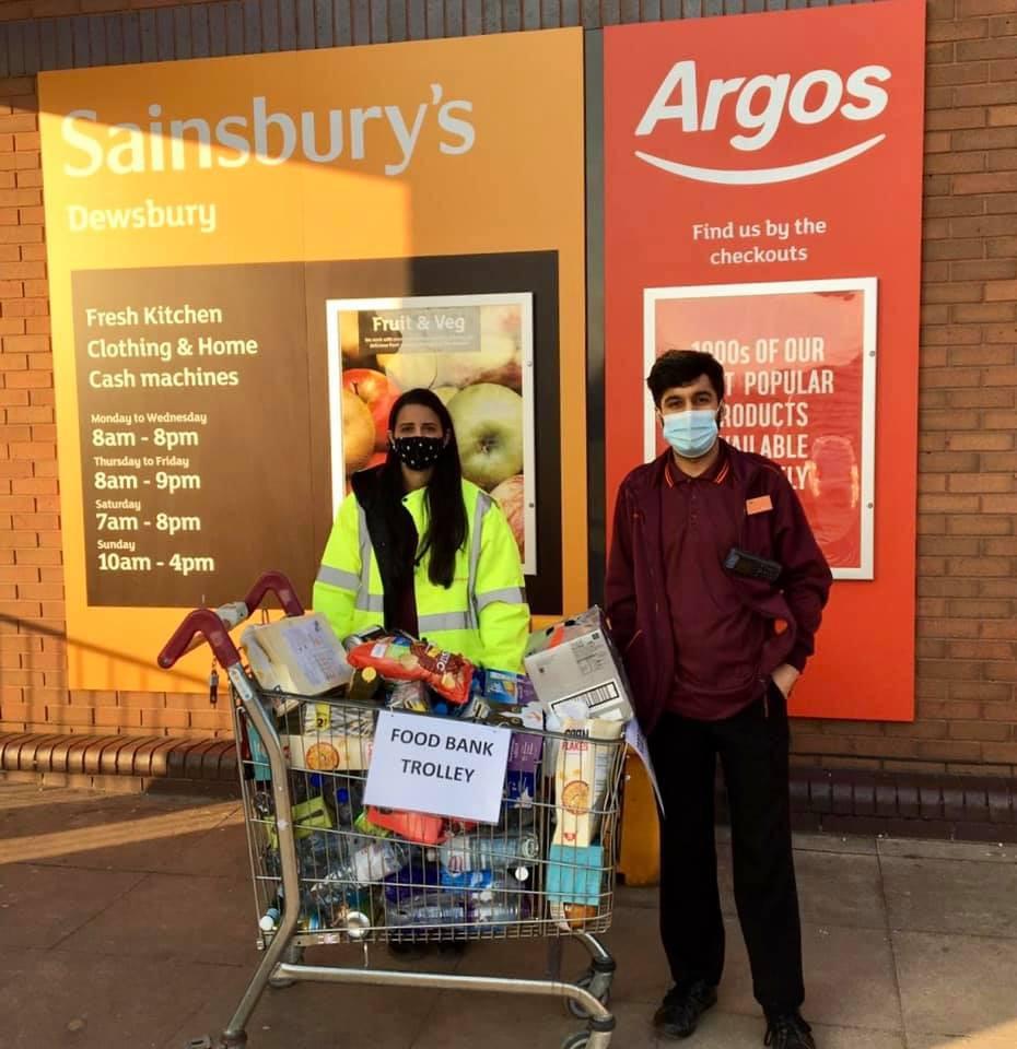 Sainsburys in Dewsbury donating food to the food bank