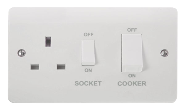 Click Mode 45A Cooker Switch with 13A DP Socket