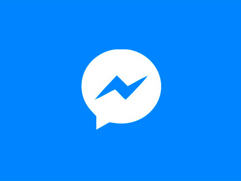 Facebook Messenger logo in white with blue background