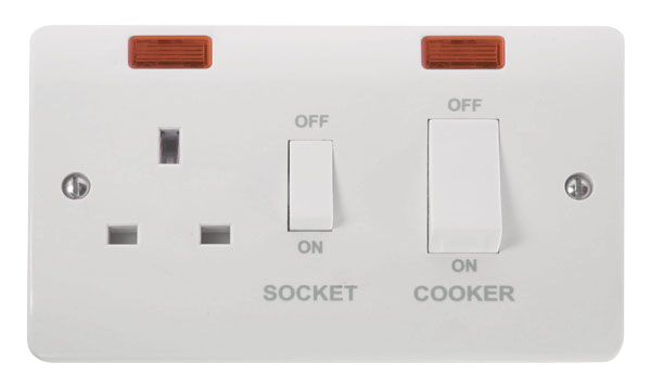 Click Mode 45A Cooker Switch with 13A DP Socket and Neon