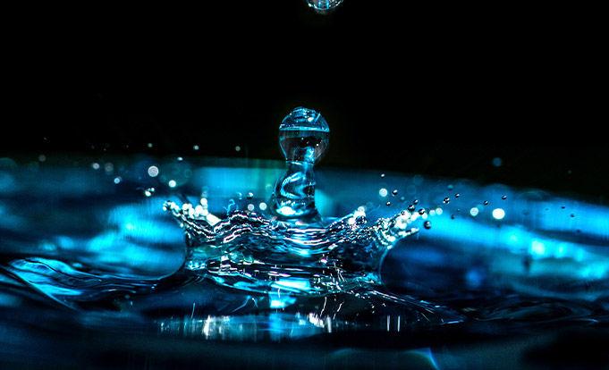 Water droplet creating a splash