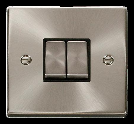 Click Deco Satin Chrome Black Insert 10A Plate Switch 2 Gang 2 Way Ingot