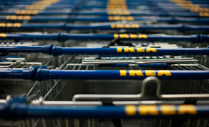 Ikea shopping trollies parked up