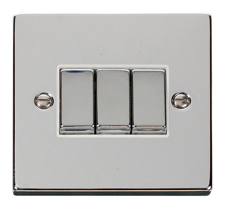 Click Deco Polished Chrome White Insert 10A Plate Switch 3 Gang 2 Way Ingot