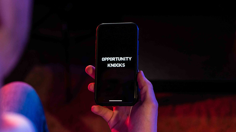 Opportunity words on a phone screen
