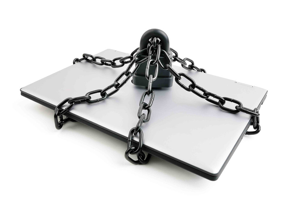 Laptop computer with Padlock and Chain