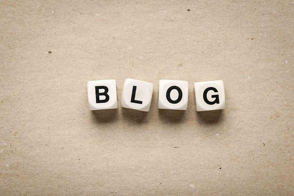 Blog word spelt out in dice blocks